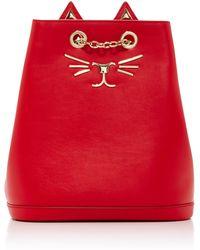 Charlotte Olympia - Embellished Feline Leather Backpack - Lyst