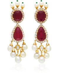Sanjay Kasliwal - One-of-a-kind Ruby And Pearl Drop Earrings - Lyst