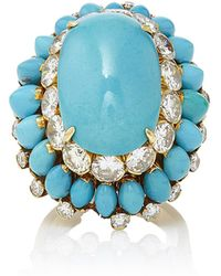 Fred Leighton - One-of-a-kind Turquoise And Diamond Cluster Ring By Van Cleef & Arpels - Lyst