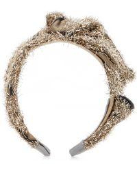 Lela Rose - Gold Tinsel Tucked Fabric Headband - Lyst