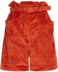 Isa Arfen - Crushed Velvet Paper Bag Shorts - Lyst