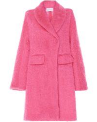 Luisa Beccaria - Mohair Long Sleeve Coat - Lyst