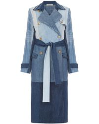 Ksenia Schnaider | Reworked Denim Patchwork Trench Coat | Lyst