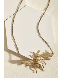 ModCloth - Apiarian Artistry Brass Pendant Necklace - Lyst