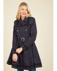 Hell Bunny London - A Welcomed Moment Coat In Navy - Lyst