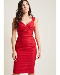 ModCloth | Lady Love Song Sheath Dress In Ruby | Lyst