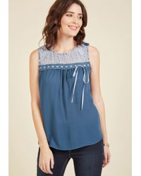 ModCloth - Natural Sweetener Sleeveless Top In Dusk - Lyst