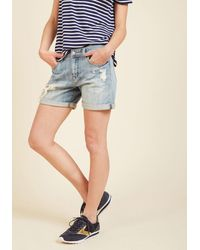 Eunina, Incorporated | Pull The Rugged Out Shorts In Light Wash | Lyst