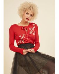 Banned - Top To Blossom Floral Cardigan In Cherry - Lyst