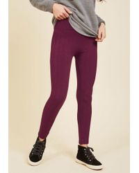 Boom Boom Jeans - Heed Your Warming Fleece-lined Leggings In Textured Berry - Lyst