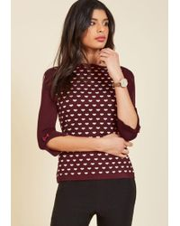 Banned - Up To Parisienne Sweater In Merlot Hearts - Lyst