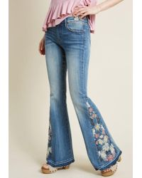 ModCloth - Driftwood The Joy Of Embroidery Flared Jeans - Lyst