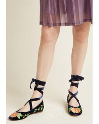 Miss L-fire - Exquisite In Velvet Embroidered Flat - Lyst