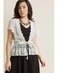 ModCloth - To Quiche Their Own Lace Cardigan In Cream - Lyst