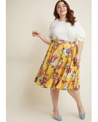 ModCloth - Ikebana For All A-line Skirt In Saffron Floral - Lyst