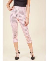 Hell Bunny - Jive Got A Feeling Trousers In Rose Dots - Lyst