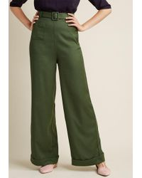 Collectif - Life's Work Wide Leg Trousers In Fern - Lyst