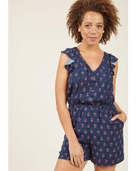 c81ff97f9298 ModCloth - Anywhere And Everywhere Romper In Navy Floral - Lyst
