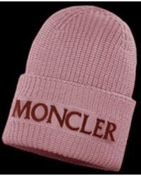 72da1882fba Moncler - Velvet Logo Wool Beanie Hat - Lyst