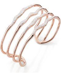 Monica Vinader - Riva Diamond Hero Wave Cuff Bracelet - Lyst