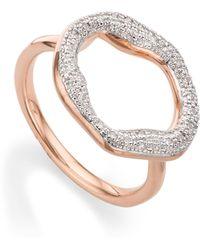 Monica Vinader - Riva Diamond Circle Ring - Lyst