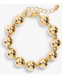 Monki - Gold Ball Bracelet - Lyst