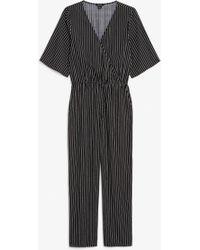 Monki - Short-sleeved Wrap Jumpsuit - Lyst