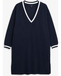Monki - Varsity V-neck Dress - Lyst