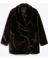 Monki - Super-soft Fluffy Coat - Lyst