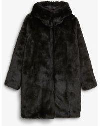 Monki - Hooded Faux Fur Coat - Lyst