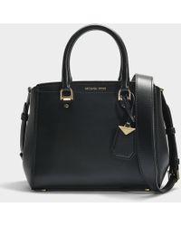 MICHAEL Michael Kors - Benning Medium Messenger Bag In Black Calfskin - Lyst