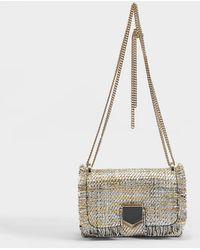 Jimmy Choo - Lockett Mini Bag In Silver And Gold Cotton - Lyst