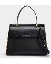 d9500bca83d4 MICHAEL Michael Kors - Jasmine Medium Top Handle Satchel Bag In Black And  Gold Calfskin -