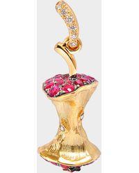 Aurelie Bidermann Fine Jewelry - 18k Gold Mini Apple Core With Rubies & Diamonds Pendant
