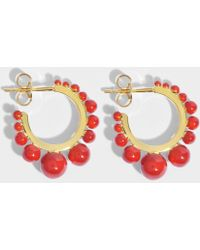 Aurélie Bidermann Ana Medium Earrings in Turquoise Color Pearls and 18K Gold-Plated Brass N6IflQN
