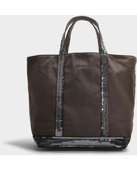 Vanessa Bruno - Canvas And Sequins Medium Tote In Steel Gray Cotton - Lyst