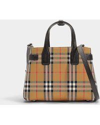 Burberry - Small Banner Bag In Black Calfskin - Lyst