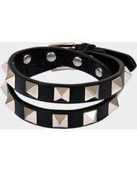 Valentino - Rockstud Double Rows Bracelet Or Choker Necklace In Black Calfskin - Lyst
