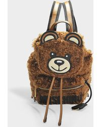Moschino - Teddy Sherling Backpack In Brown Wool - Lyst