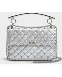 Valentino - Metallic Rockstud Spike Medium Shoulder Bag In Silver Metallic Calf - Lyst