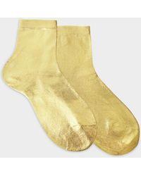Maria La Rosa - Metallic Socks In Gold Silk And Polyamide - Lyst