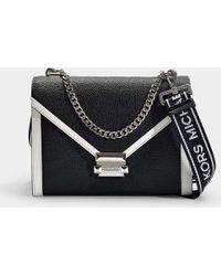 MICHAEL Michael Kors - Whitney Large Shoulder Bag In Black And Optic White Grained Calfskin - Lyst