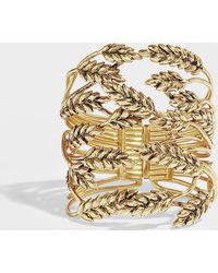 Aurelie Bidermann - Wheat Cuff Bracelet In Gold Plated Brass - Lyst