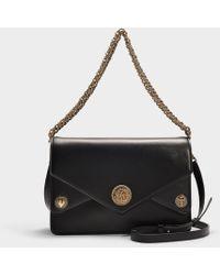Roberto Cavalli - Gange Medium Shoulder Bag In Black And Metallic Calfskin - Lyst