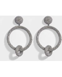 Oscar de la Renta - Beaded Double Hoop Clip Earrings In Silver Synthetic - Lyst