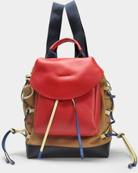 Marni - Mountain Backpack In Hazelnut, Cherry And Black Canvas And Calfskin - Lyst