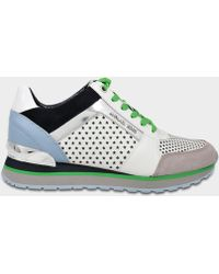 4e1cc345a96d MICHAEL Michael Kors - Billie Trainers In Optic White And Admiral  Perforated Nappa And Patent Leathers