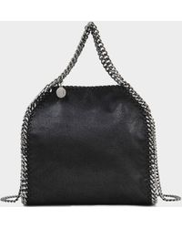 Stella McCartney - Minibella Tote Silver Chain Bag In Black Eco Leather - Lyst