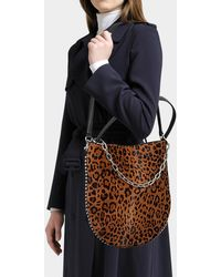 Alexander Wang - Roxy Leopard Printed Haircalf Hobo Bag In Calfskin - Lyst