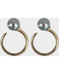 Mizuki - Single Pearl Upside Down Earrings - Lyst
